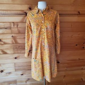 1960s Glenbrooke Jr Multi-Color Poly/Cotton Dress